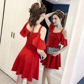 夜場女裝性感洋裝新款吊帶裙女夏紅色短裙子顯瘦夜店一字肩連衣裙(全館滿1000元減120)