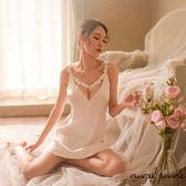 天使波堤【LD0212】刺繡蕾絲透視露腿睡裙美背情趣睡衣(共三色)-工廠直銷愛心緞面性感內衣
