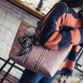 包包女2020新款韓版大容量絲巾單肩包女包托特包時尚毛球手提大包 PA13315『棉花糖伊人』
