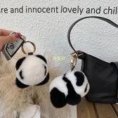 軟萌可愛獺兔毛小熊貓掛飾個性創意毛絨公仔玩偶鑰匙扣包掛件禮物 快速出貨