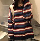 【雙十二】秒殺秋冬韓版女裝寬鬆BF條紋套頭針織衫女學生中長款長袖情侶毛衣外套3色gogo購