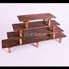 (快速)花盆架 碳化防腐實木花盆架單層花幾戶外陽臺階梯腳踩凳多肉室內外多層特價YYJ