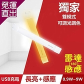 TOYAMA特亞馬 TS1磁吸USB充電可調光雙模式長亮+感應LED燈0.9W~9W 雙模式(長亮照明、感應【免運直出】