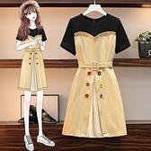 VK精品服飾 韓國風時尚荷葉邊休閒假兩件拼接收腰彩扣短袖洋裝