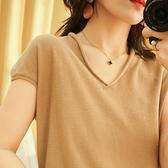 棉麻純色t恤女v領短袖寬鬆顯瘦休閒短袖針織衫上衣女裝夏-Milano米蘭