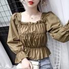 限時特價 長袖襯衫女設計感小眾早秋新款時尚氣質方領褶皺短款洋氣上衣