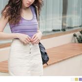《AB10514-》膚觸涼感配色細橫條紋合身長版背心上衣 OB嚴選