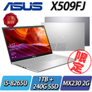 【ASUS華碩】【有電腦包+贈滑鼠】【直升8G】【240G SSD+1TB雙碟改裝版】X509FJ ◢15.6吋效能獨顯筆電 ◣