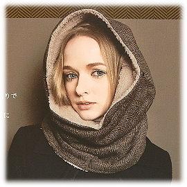 【波克貓哈日網】冬季禦寒保暖◇造型保暖圍巾◇《棕色人字紋》5way