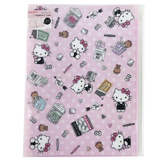 小禮堂 Hello Kitty 資料夾 A4 雙開式文件夾 檔案夾 L夾 附夾鏈袋 (粉 爆米花) 4901770-56607