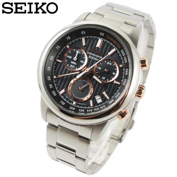 【萬年鐘錶】SEIKO 三眼計時碼錶  日期顯示  防水百米 黑錶面 SSB215P1(8T68-00A0P)