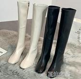 長筒靴女 高靴女秋季新款韓版百搭白色粗跟單靴小個子不過膝長靴子 快速出貨