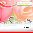 銀鏡DIY S925純銀材料配件/硫化染黑甜甜圈隔片/擋珠5mm~適合手作串珠/蠶絲蠟線(非合金)