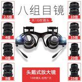 頭戴眼鏡式維修放大鏡修鐘錶帶LED燈高清雙眼式郵票鑒定