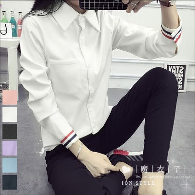 【QV1232】魔衣子-學院修身袖口條紋配色長袖襯衫