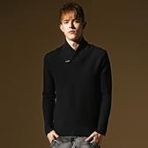 長袖針織衫-韓版堆堆領合身版型男針織毛衣2色73ik53【時尚巴黎】