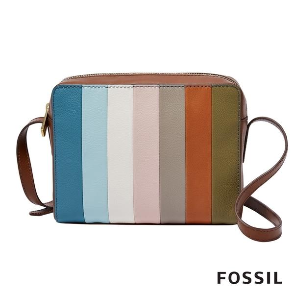 FOSSIL SYDNEY 真皮相機包-彩色條紋