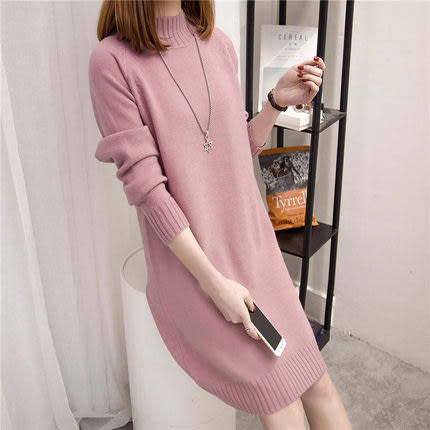 【GZ82】半高領毛衣 女寬鬆韓版套頭中長款打底衫 秋裝新款針織衫 洋裝