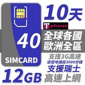 【TPHONE上網專家】歐洲全區40國 12GB超大流量高速上網卡 贈送歐洲3000分鐘通話 10天