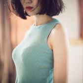 小香風氣質無袖上衣針織背心吊帶修身外穿短款螺紋百搭打底衫女夏『櫻花小屋』