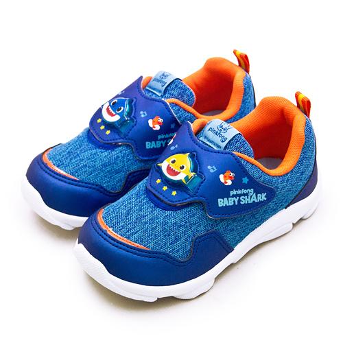 LIKA夢 Pinkfong 碰碰狐 15cm-19cm BABY SHARK 兒童電燈運動鞋 台灣製造 藍橘 96616 中童