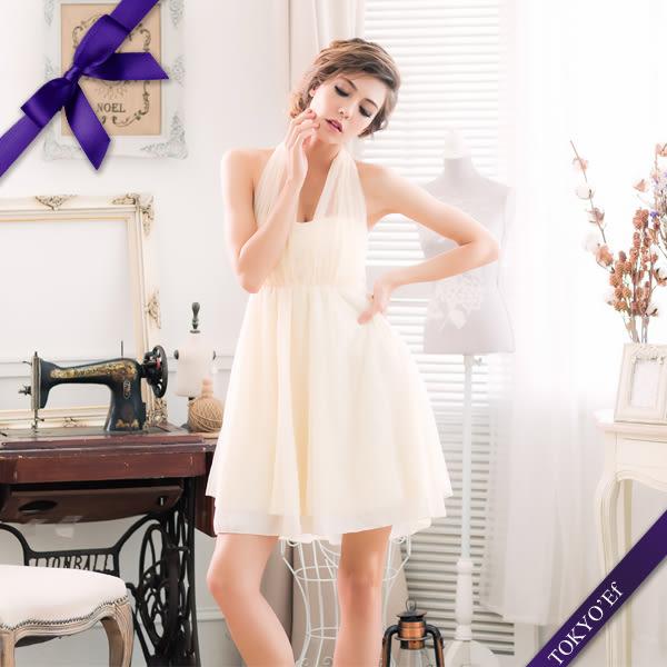 東京衣服 蘿莉公主 深V夢幻抓紗 繞頸蝴蝶結美背小禮服 杏色