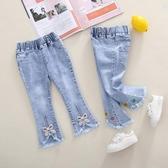 女童牛仔褲春秋款女童褲子春裝洋氣寶寶兒童長褲中小童喇叭褲微喇 美眉新品