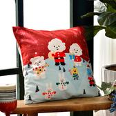 義大利Fancy Belle X  FLUFFY HOUSE《蓬鬆聖誕》麂皮靠墊 45*45CM (含枕心)