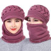 中老年人帽子女士冬天加厚連體媽媽毛線帽老人奶奶老太太冬季保暖   易家樂