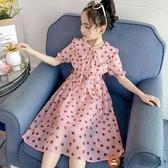 女童波點連身裙夏裝兒童夏季裙子女大童雪紡長裙【淘夢屋】