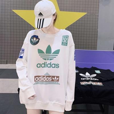 新款愛迪達Adidas三葉草男女長版長袖T桖秋冬綿T大Logo塗鴉撞色寬鬆運動情侶裝 衛衣連帽T桖/澤米