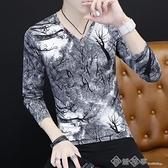 長袖T恤 長袖t恤男士韓版潮流2020春秋新款冰絲體恤打底上衣男裝薄款秋衣 西城故事