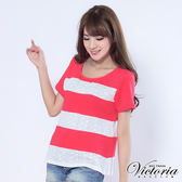 Victoria 燒花拼接上衣-女-桃紅