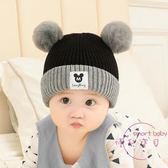 聖誕交換禮物 嬰兒帽子秋冬0-3-6個月套頭帽新生兒加厚保暖男女寶寶1-2歲毛線帽