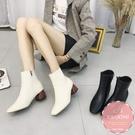 高跟踝靴 短靴 中靴 素色好穿搭 騎士靴*Kwoomi-101