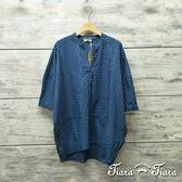 【Tiara Tiara】網路獨家 細格紋開襟半袖純棉長短版襯衫(藍/咖啡/黑白)