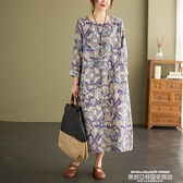 棉麻洋裝 春秋新款棉麻連身裙寬鬆大碼復古文藝印花遮肚顯瘦亞麻長袖中長裙 萊俐亞