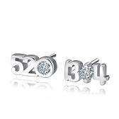 耳環 925純銀鑲鑽銀飾-數字甜美生日情人節禮物女飾品73dy44[時尚巴黎]