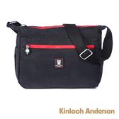 金安德森 極簡耀色 輕巧休閒多隔層側背包 低調黑紅
