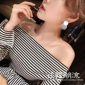 耳環  2019新款氣質s925銀針耳環女個性時尚百搭簡約名媛潮人耳釘