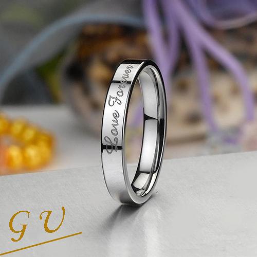 【GU】W07e 生日禮物GresUnic 男戒女戒對戒鎢鋼戒指 Agloce 愛.永恆白烏玄戒指