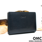 OMC - 原皮魅力真皮系列兩用零錢扣短夾 - 星辰藍