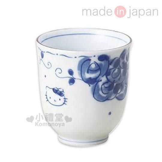〔小禮堂〕Hello Kitty 日製陶瓷茶杯《白.藍玫瑰.大臉》精緻美濃燒.新生活系列 4964412-30732