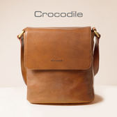 Crocodile Naturale Collection 2.0 義大利植物鞣原皮 直式翻蓋斜背包 0104-07702-02