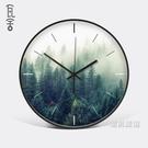 掛鐘瓦舍綠色植物掛鐘小清新鐘錶臥室金屬靜音時鐘北歐客廳掛錶xw