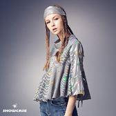 【SHOWCASE】條紋印花高腰荷葉襬短版上衣(黑)