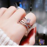 戒指 日韓潮人開口鋯石戒指女個性簡約韓國學生食指戒時尚網紅ins指環 2色