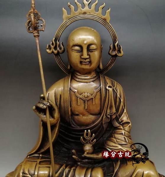 純銅地藏王佛像 地藏菩薩像 仿古純銅開光佛像擺件家用供奉擺件1入