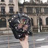 斜背包 女包包2018新款韓版刺繡花朵鍊條水桶包ins超火少女斜挎小包【快速出貨八五折】