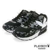 PLAYBOY 注目潮流 迷彩拼接氣墊運動鞋-黑